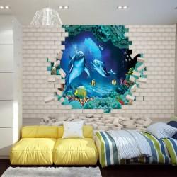 Wall mural 3D brick wall-aquarium with dolphins and fish