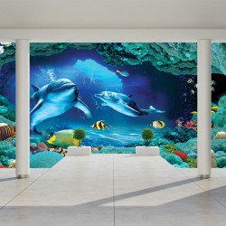 Wall mural 3D room wall with dolphins and seabed