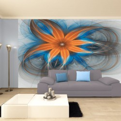 Wall mural abstract flower in orange with dots