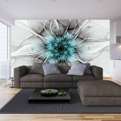 Wallpapers mural flower nets in turquoise