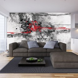 Photo mural abstraction in black and red