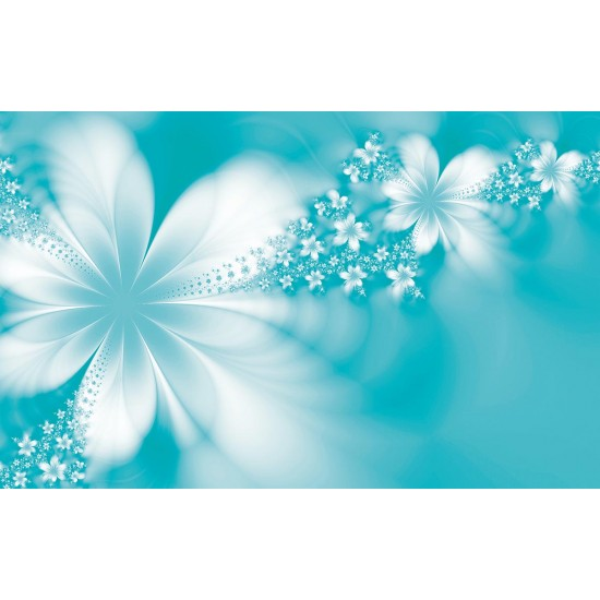 Photo mural abstract light floral composition in orange and Turquoise