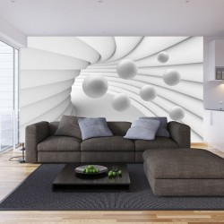 Photo murals white-gray with spheres 3d spiral tunnel