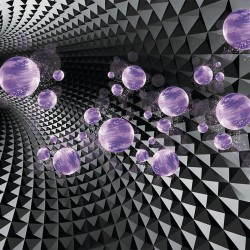 Wallpapers 3d dark tunnel with white spheres abstract in 2 colors