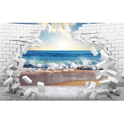 Photo mural 3D broken wall bricks sea view sunset in 2 colors