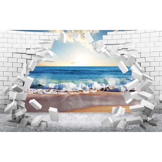 Photo mural 3D broken wall bricks sea view sunset in 2 colors