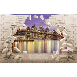 Photo mural 3D broken wall bricks view from New York in 2 colors