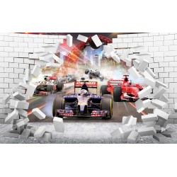 Photo mural 3D broken wall bricks look formula in 2 colors