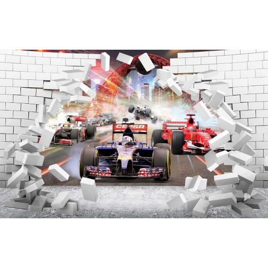 Photo mural 3D broken wall bricks look formula in 2 colors