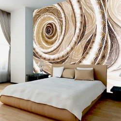 Photo murals abstract spiral in a beige-brown range