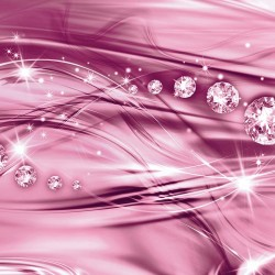 Photo mural modern waves with diamonds in purple and pink