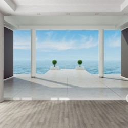 Photo mural room view with sea 3d effec