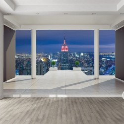 Photo mural room view with New York 3d effect