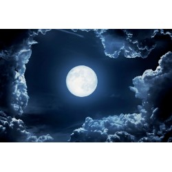 Wallpapers mural night clouds with a bright moon