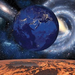 Wall mural deep space and earth in blue and orange-red