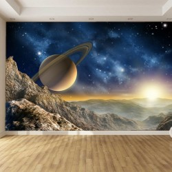 Photo mural space and planet in sunset