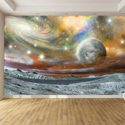 Wallpapers mural planet in orange space