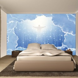 Wall murals space abstraction with clouds and Jesus