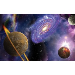 Wall mural 3d abstraction with planets and radiance