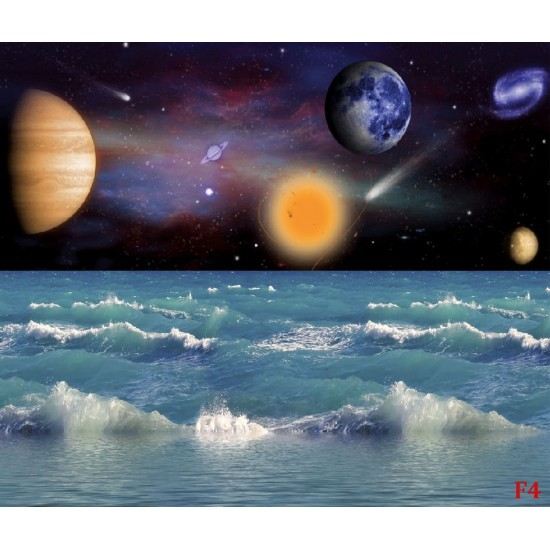 Wallpaper beautiful space view combine with sea waves