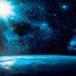 Wallpaper Space view with sun land and stars