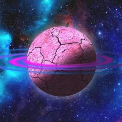 Wallpaper mural space stars pink planet