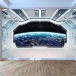 Wallpaper mural 3D Space room overlooking planet space