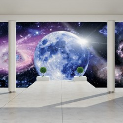 Photo mural room view with cosmos 3d effect