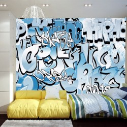 Photo mural graffiti with light blue lettering