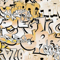 Wall mural graffiti with beige and orange lettering