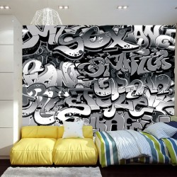 Wall mural graffiti with black lettering