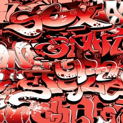 Photo mural graffiti with red lettering