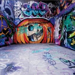 Wall mural graffity door in space