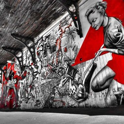 Wall mural street graffiti tunnel in black and red