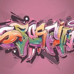Wallmural colorful graffiti art inscription in 2 colors