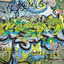 Photo mural colorful graffiti art wall in 2 colors