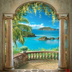 Photo mural Arch classic with a wonderful view of the sea