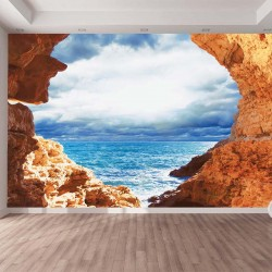 Photo mural Rocky sea rocks with beautiful sky