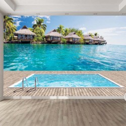 Photo mural Imitation view of villas with pool and sea