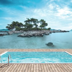 Photo mural imitation of an island view with pool and sea