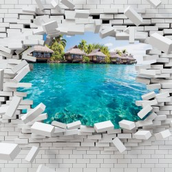 Photo mural broken brick wall view from Bora Bora