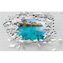 Photo mural broken brick wall view from Bora Bora