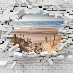 Photo mural broken brick wall view from sea beach trail