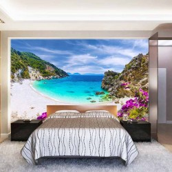 Photo mural sea bay beach with purple flowers