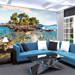 Photo mural fantastic beautiful view of a lonely island in the sea