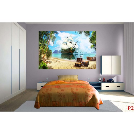 Wallpapers mural 3D composition with pirate ship and treasure