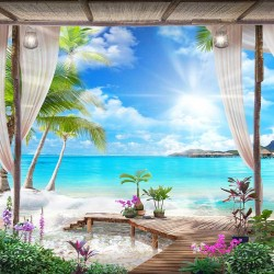 Photo mural 3d-view exotics on the beach spa center
