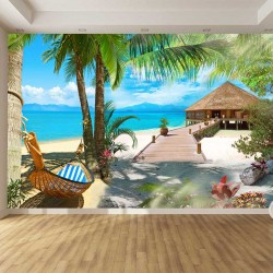 Photo mural paradise with palm trees hammock and bungalow