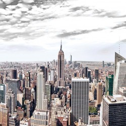 Photo mural panoramic view from New York gray sky