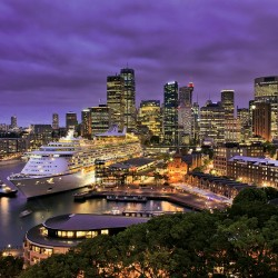 Photo mural night view of a cruise ship from Sydney